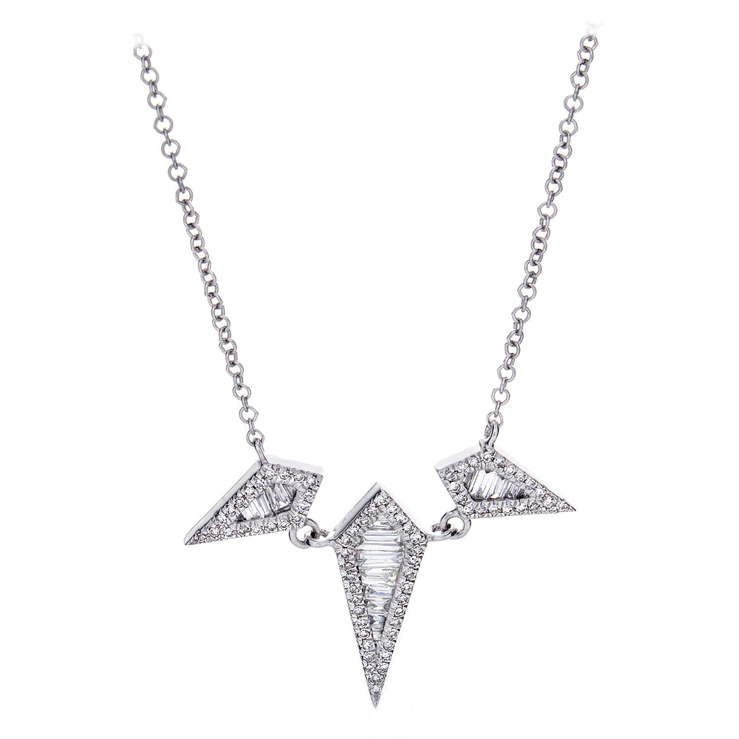 Diamonds & 14K White Gold Rhomb Necklace