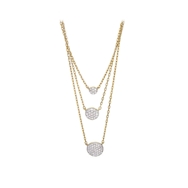 Diamond Triple Disk Chain Necklace - SOLD/CAN BE SPECIAL ORDERED WITH 4-6 WEEKS DELIVERY TIME FRAME