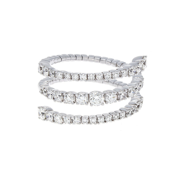 Full Cut Diamond & 18K White Gold Spiral Ring