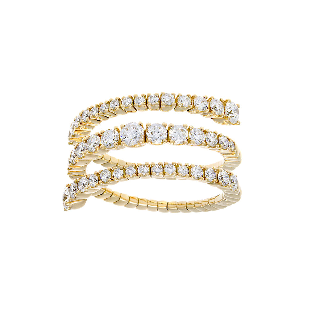 Full Cut Diamond & 18K Yellow Gold Spiral Ring-SOLD/CAN BE SPECIAL ORDERED WITH 4-6 WEEKS DELIVERY TIME FRAME
