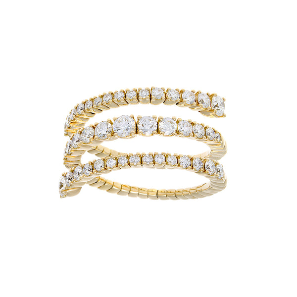 Full Cut Diamond & 18K Yellow Gold Spiral Ring