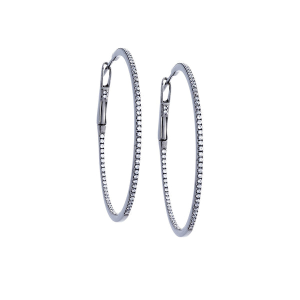 Diamond & 18K White Gold Hoop Earrings - SOLD