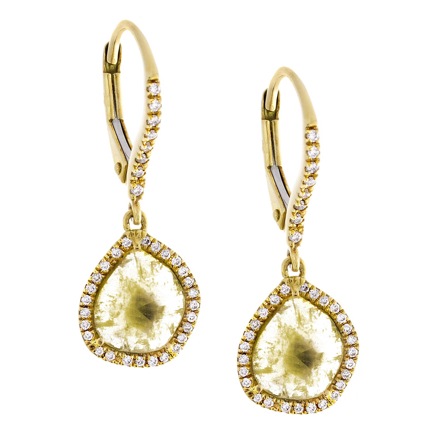Sliced Yellow Diamond, White Pavé & 18K Yellow Gold Drop Earrings- SOLD/CAN BE SPECIAL ORDERED WITH 4-6 WEEKS DELIVERY TIME FRAME