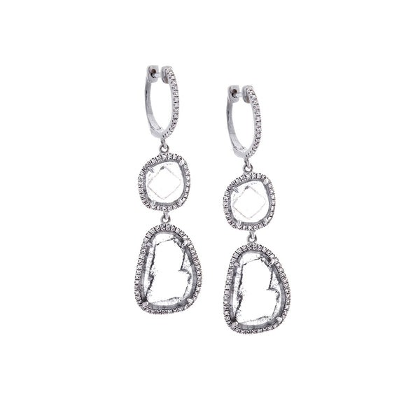 Diamonds & 14K White Gold Two Drop Earrings - SOLD/CAN BE SPECIAL ORDERED WITH 4-6 WEEKS DELIVERY TIME FRAME