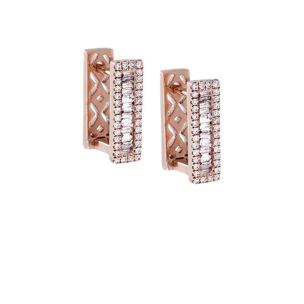 Diamond Bar Rose Gold Earrings - SOLD