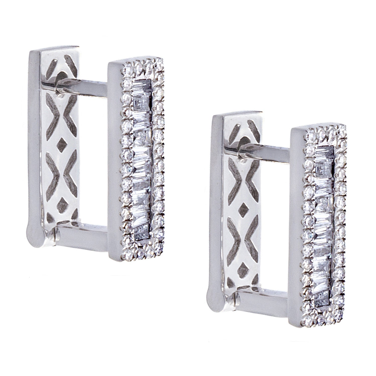Diamond Baguette & Pavé 14K White Gold Bar Earrings - SOLD/CAN BE SPECIAL ORDERED WITH 4-6 WEEKS DELIVERY TIME FRAME