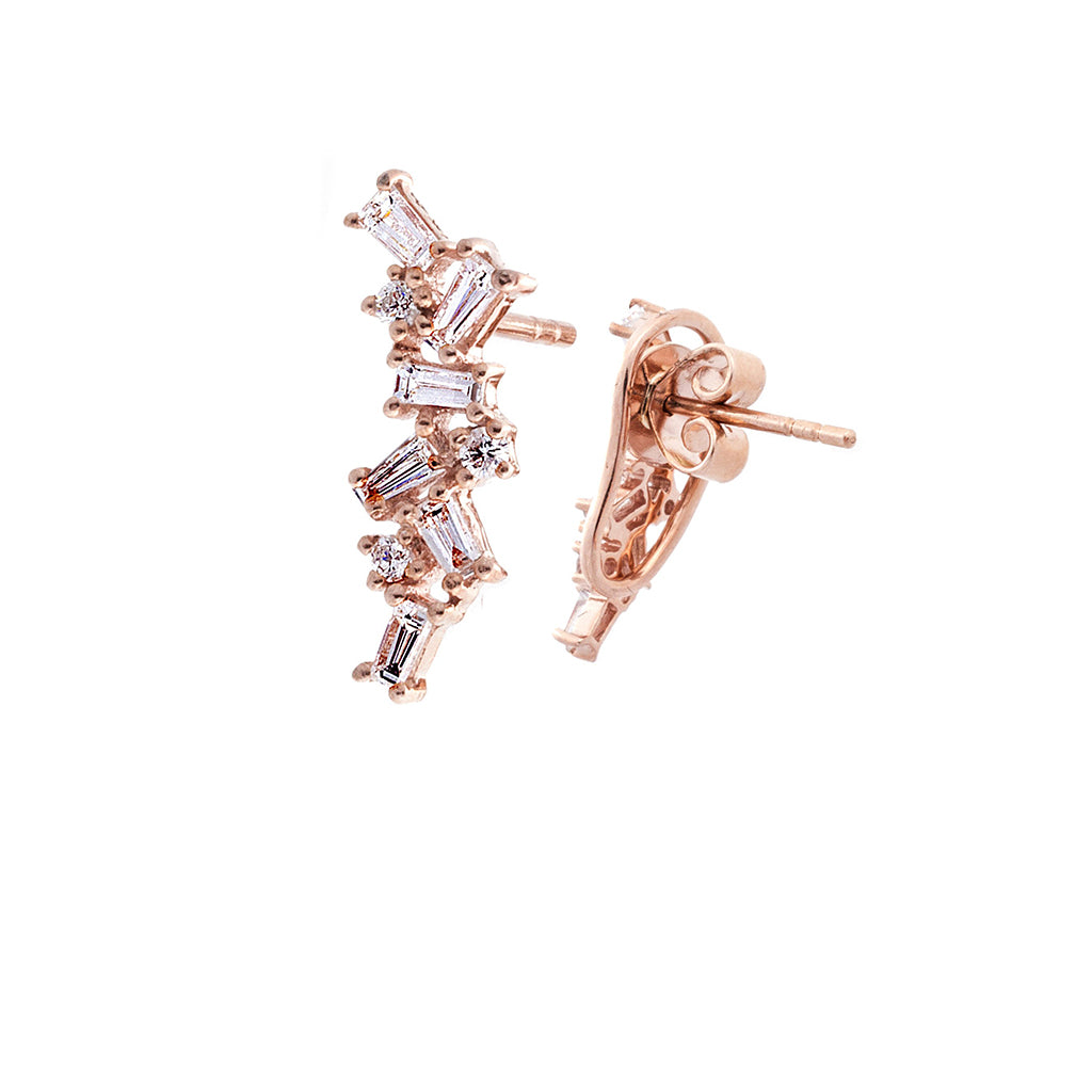 Baguette Diamond & 14K Rose Gold Cluster Stud Earrings