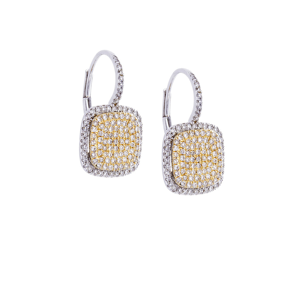 Diamond Pavé & 14K White/Yellow Gold Square Earrings - SOLD/CAN BE SPECIAL ORDERED WITH 4-6 WEEKS DELIVERY TIME FRAME