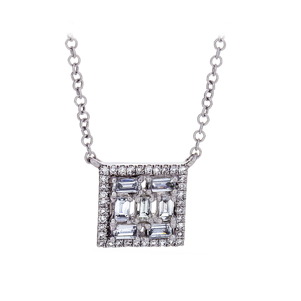 Diamond Square White Gold Necklace - SOLD/CAN BE SPECIAL ORDERED WITH 4-6 WEEKS DELIVERY TIME FRAME
