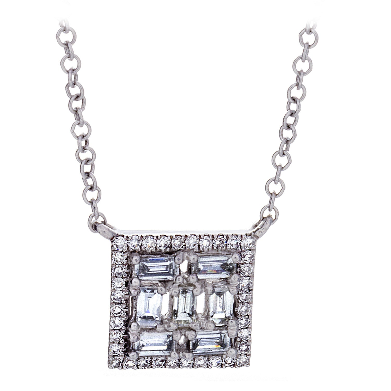 Diamond Square White Gold Necklace