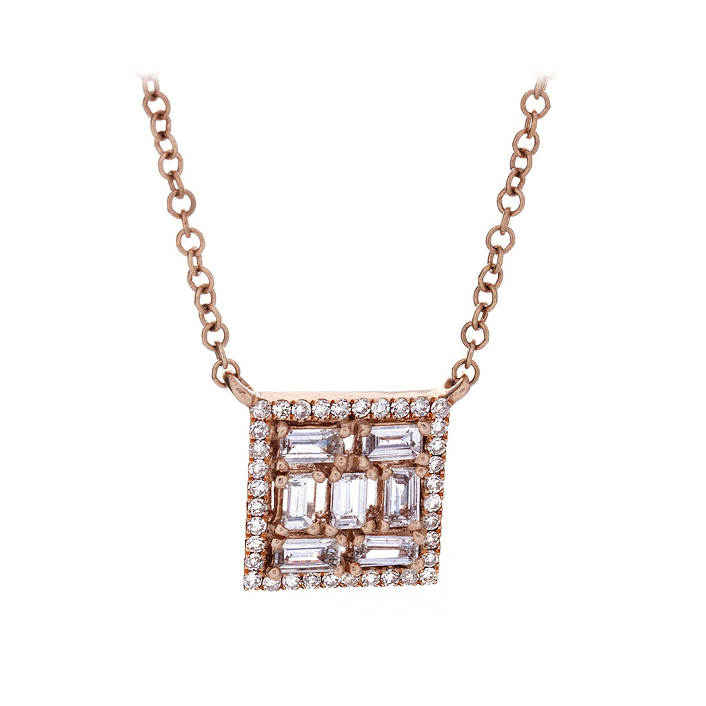Diamond & 14K Rose Gold Square Necklace