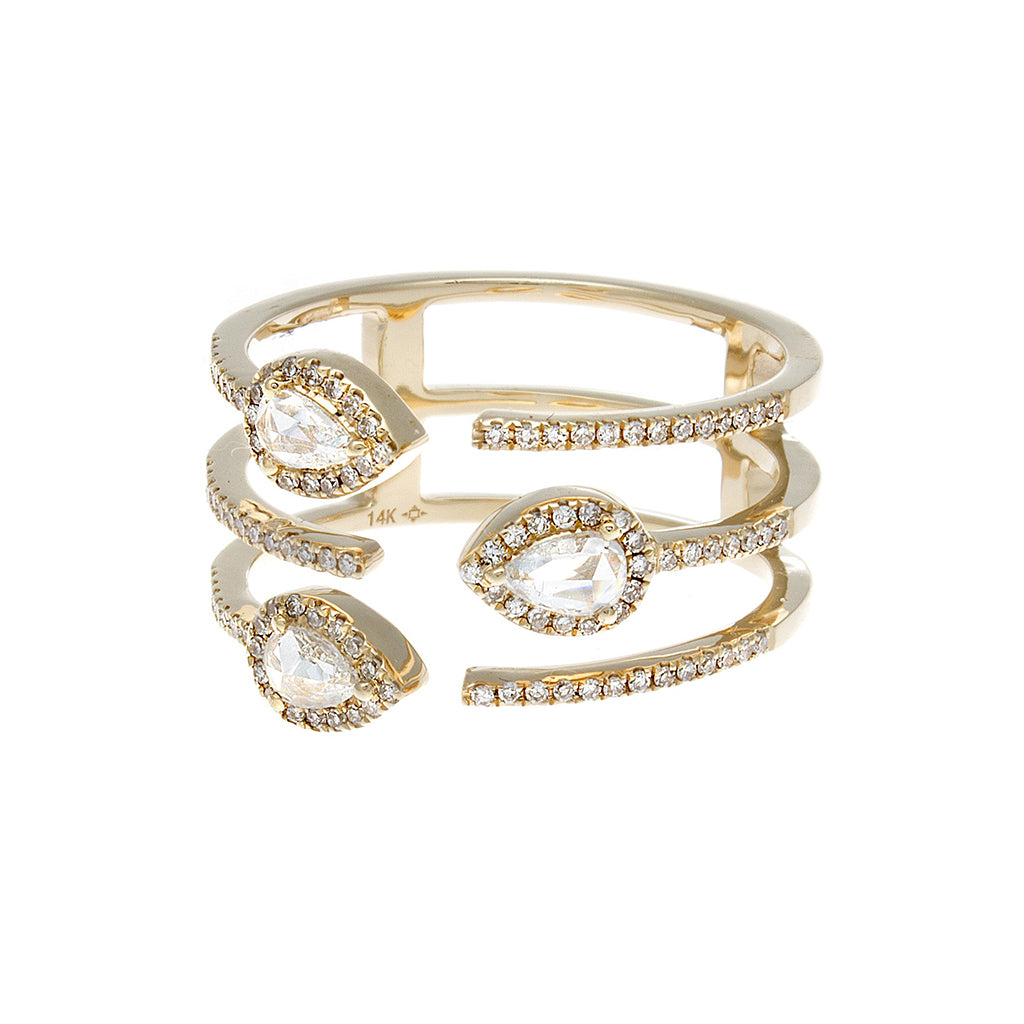 Rosecut & Pave Diamond Yellow Gold Ring- SOLD/CAN BE SPECIAL ORDERED WITH 4-6 WEEKS DELIVERY TIME FRAME