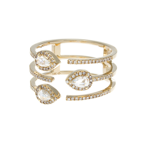 Rosecut & Pave Diamond Yellow Gold Ring
