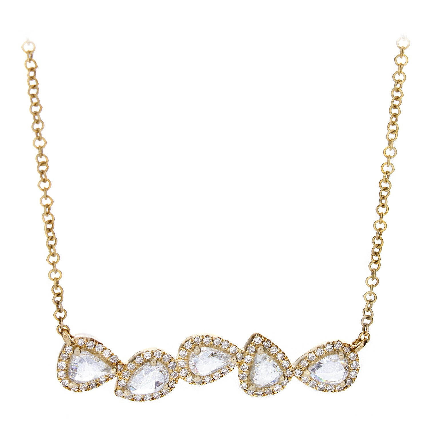 Rosecut Diamonds, Pavé & 14K Yellow Gold Multi Teardrop Necklace