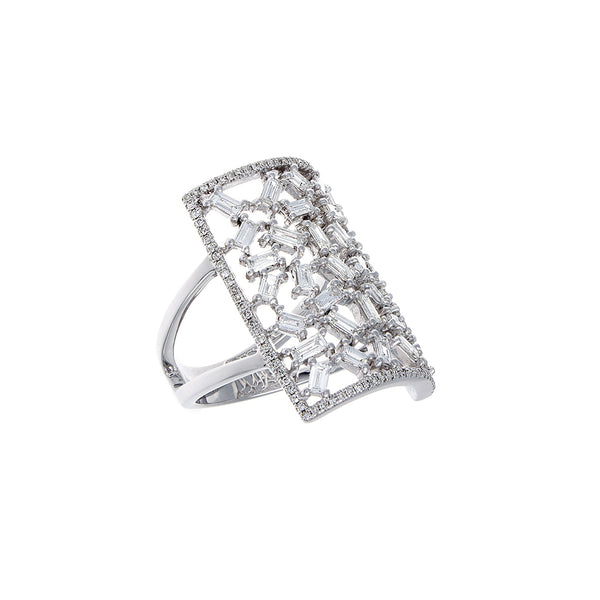 Baguette & Pavé Diamond 14K White Gold Ring