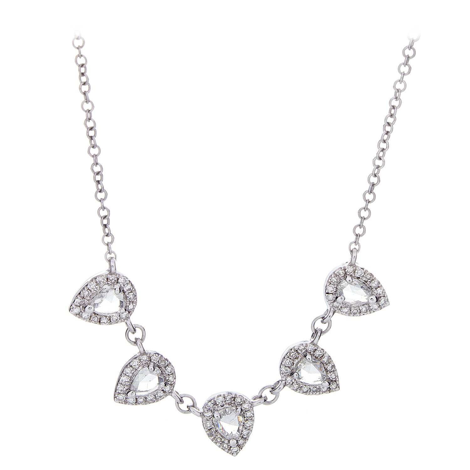 Rose Cut/Pave Diamond & 14K White Gold Necklace