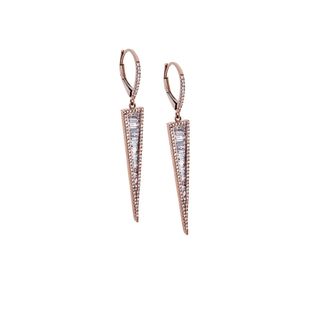Diamond & 14K Rose Gold Triangle Earrings - SOLD