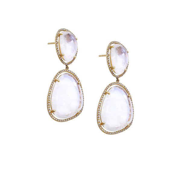 Diamond & Stone Drop Earrings - SOLD/CAN BE SPECIAL ORDERED WITH 4-6 WEEKS DELIVERY TIME FRAME