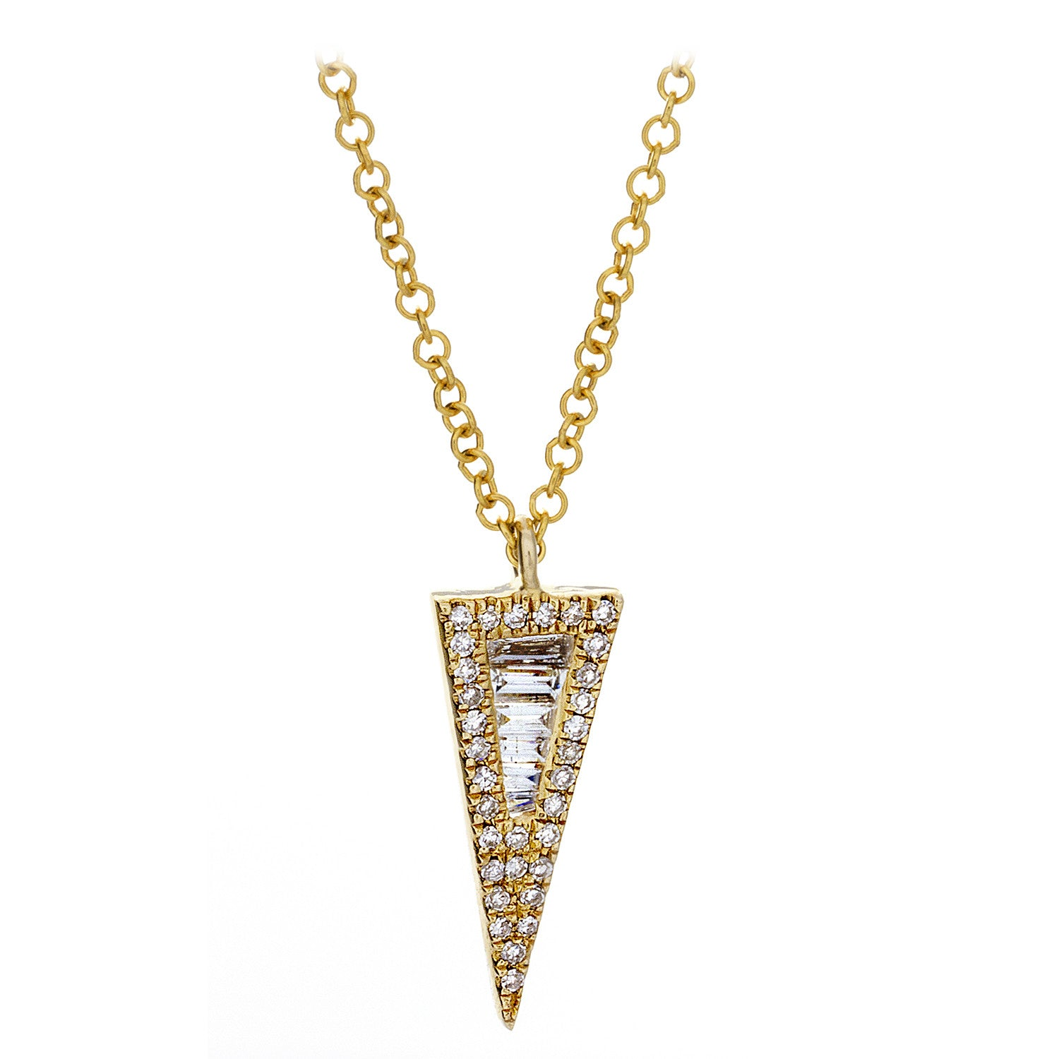 Diamond & 14K Yellow Gold Spike Necklace