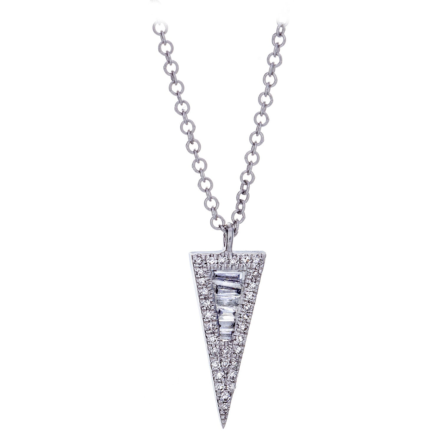 Diamond Spike Pendant & Chain in White Gold - SOLD/CAN BE SPECIAL ORDERED WITH 4-6 WEEKS DELIVERY TIME FRAME