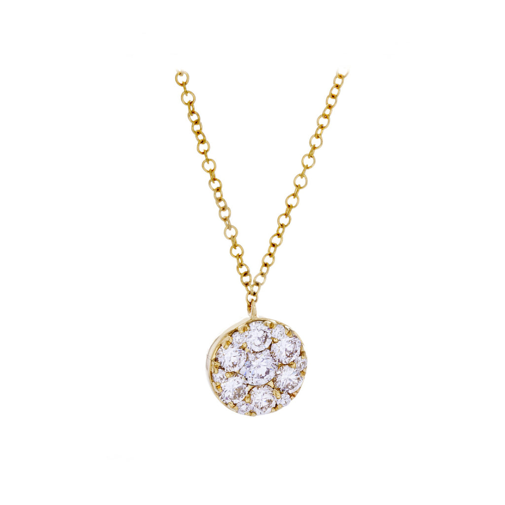 Diamonds & 14K Yellow Gold Disk Necklace - SOLD/CAN BE SPECIAL ORDERED WITH 4-6 WEEKS DELIVERY TIME FRAME