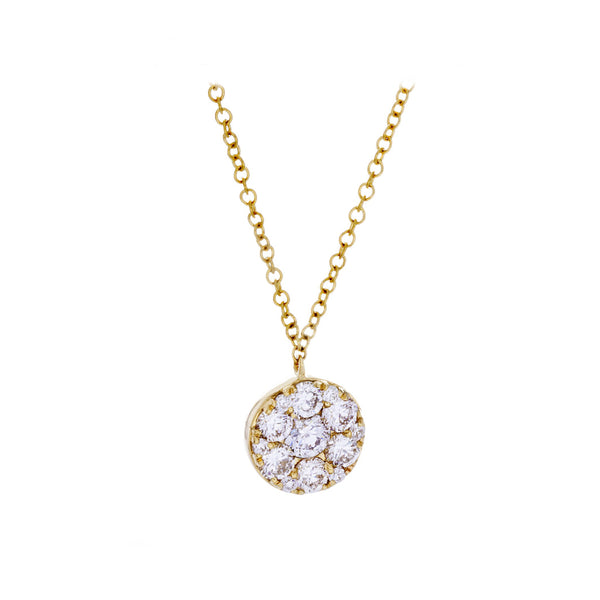 Diamonds & 14K Yellow Gold Disk Necklace