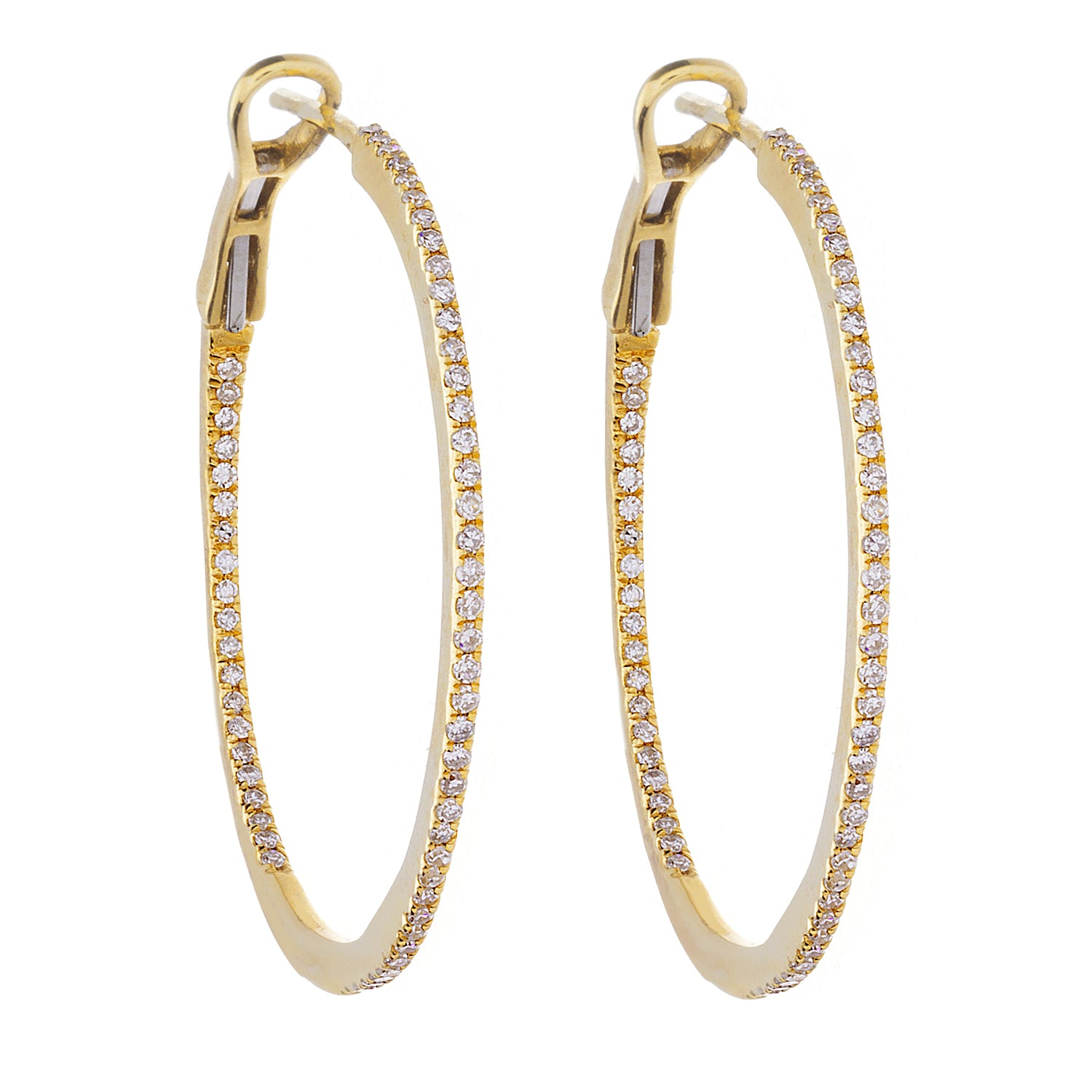Diamond & 14K Yellow Gold Hoop Earrings