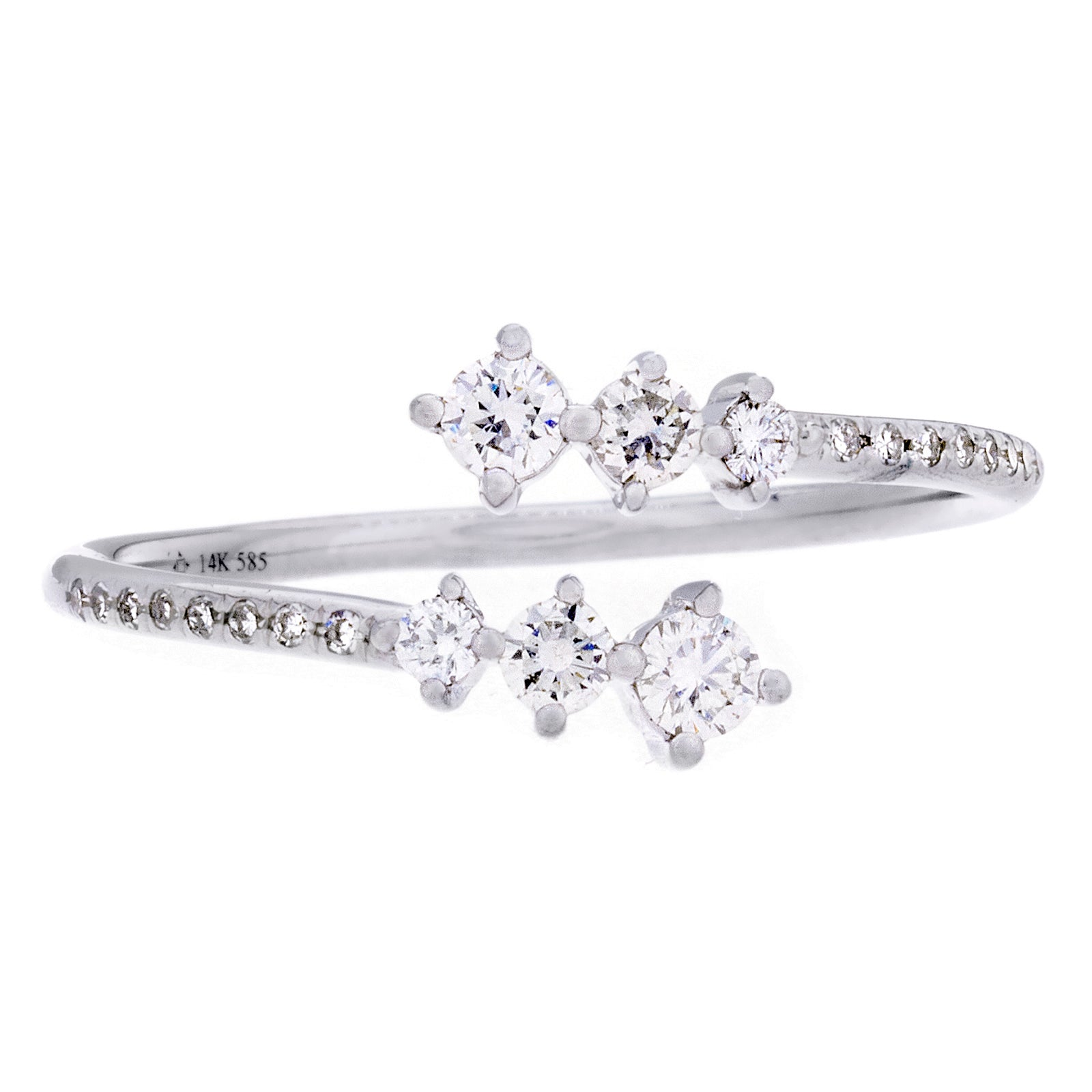 Diamonds & 14K White Open Ring - SOLD
