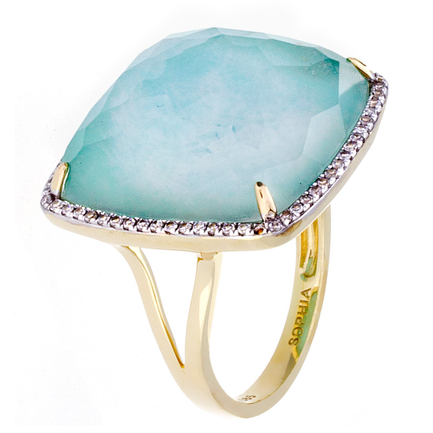 Diamonds, Crystal Amazonite & 18K Yellow Gold Ring