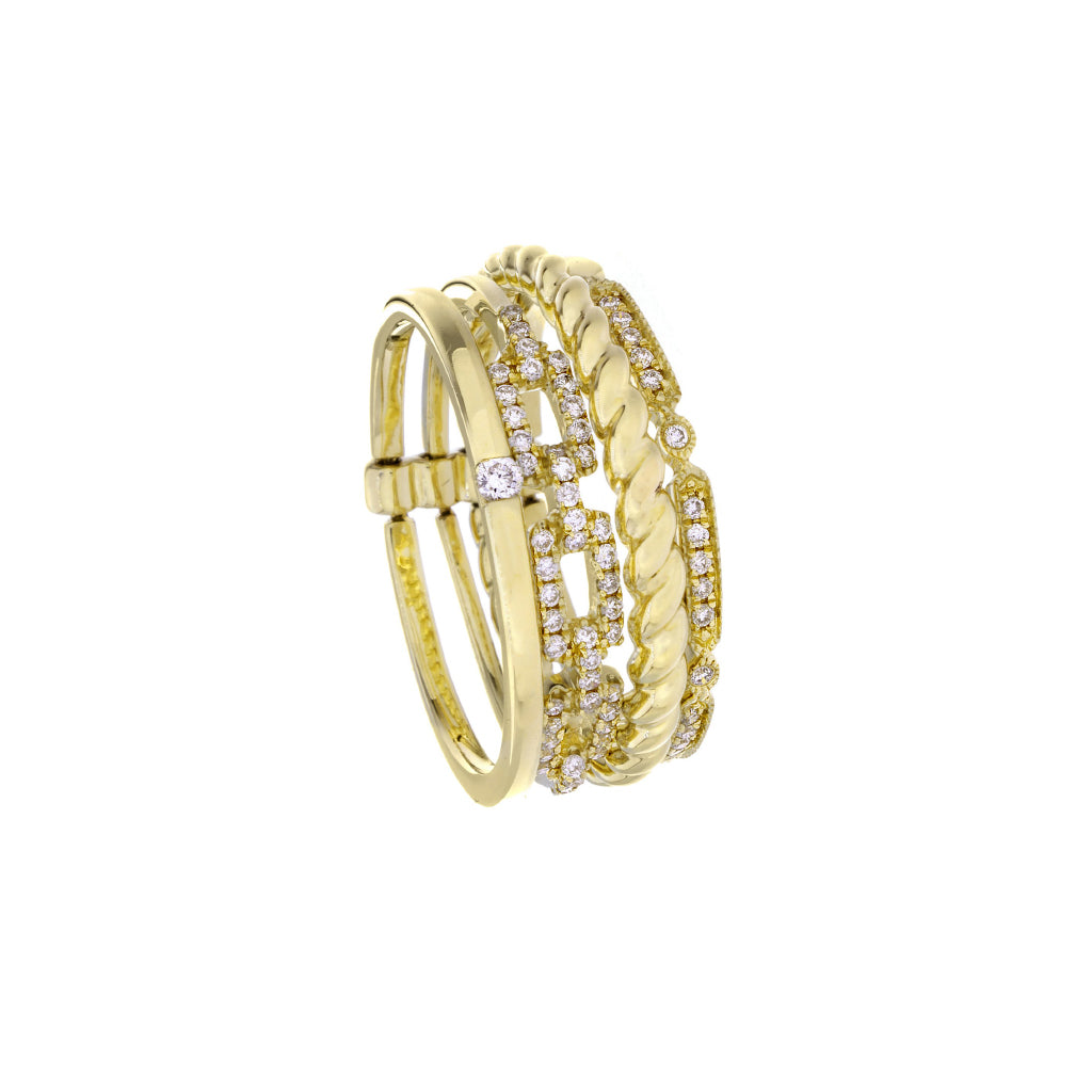 Diamonds & 14K Yellow Gold Multi Band Ring