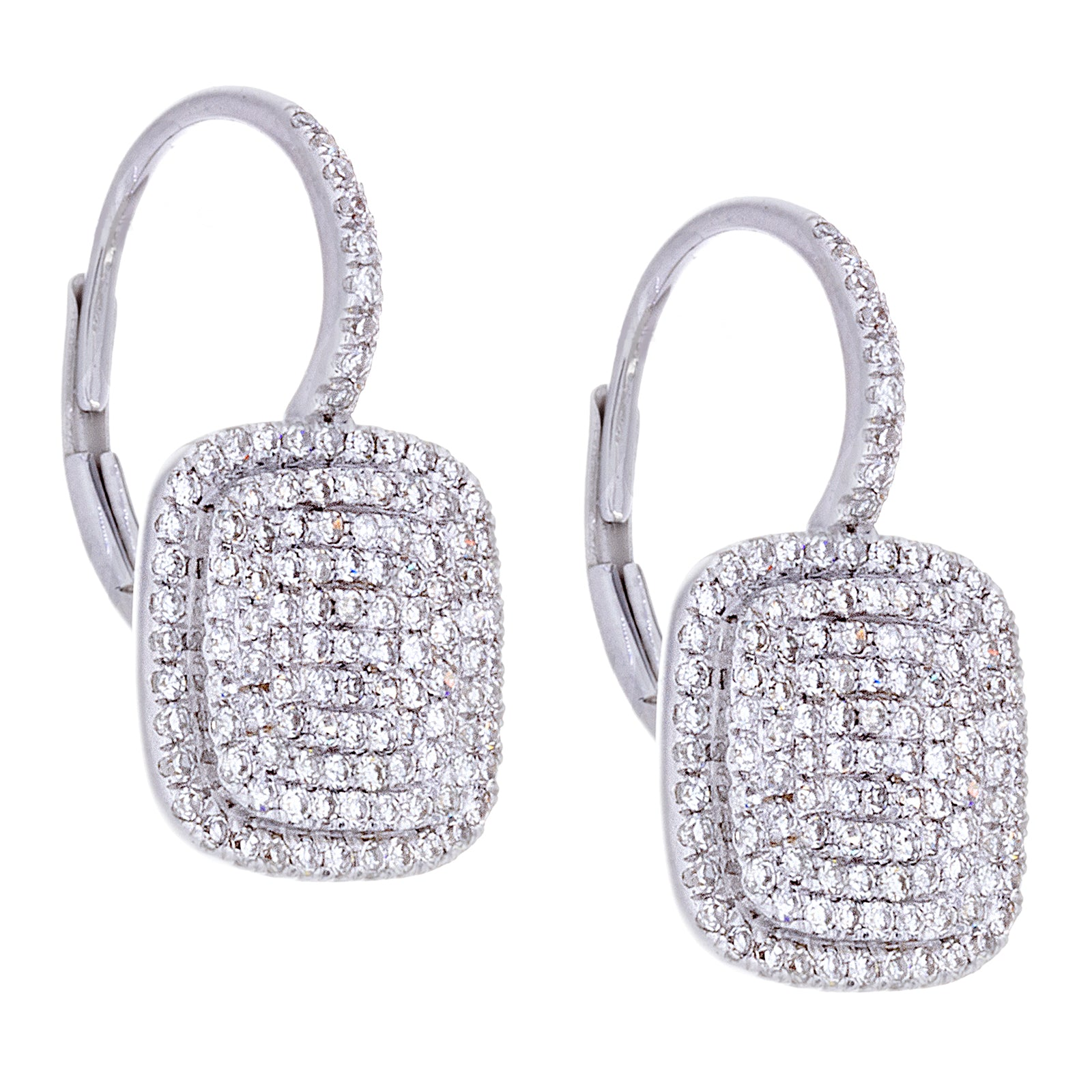 Diamonds Pave & 14K White Gold Earrings - SOLD
