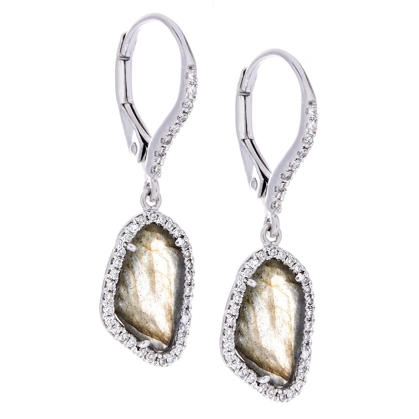 Diamonds, Labradorite & 14K White Gold Earrings