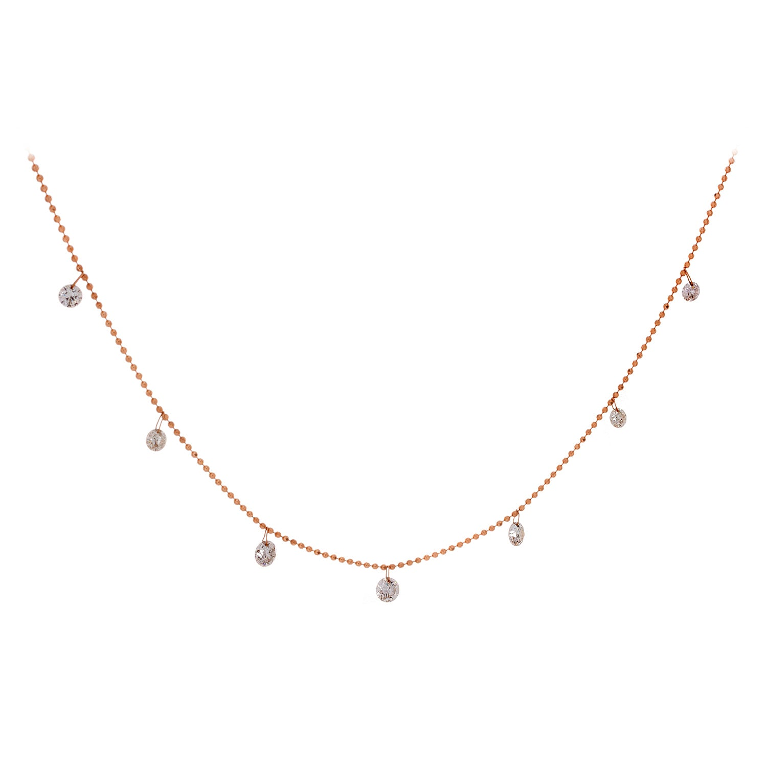 Floating Diamonds & 18K Rose Gold Necklace - SOLD