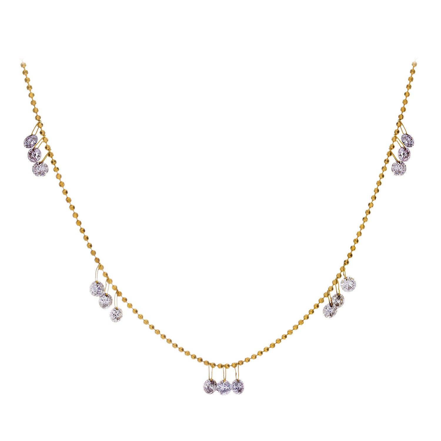 Floating Diamonds & 18K Yellow Gold Necklace