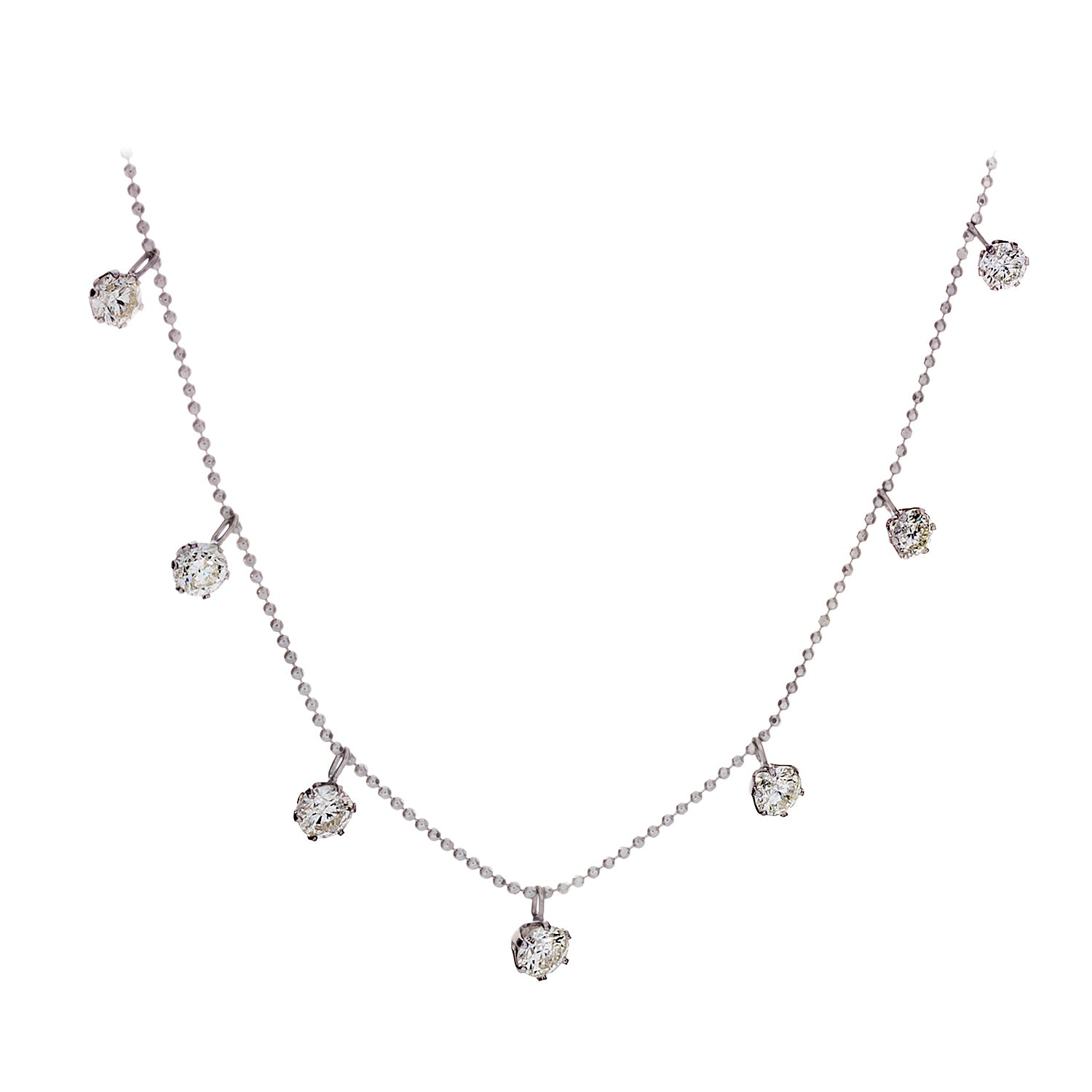 Floating Diamonds & 18K White Gold Necklace - SOLD/CAN BE SPECIAL ORDERED WITH 4-6 WEEKS DELIVERY TIME FRAME