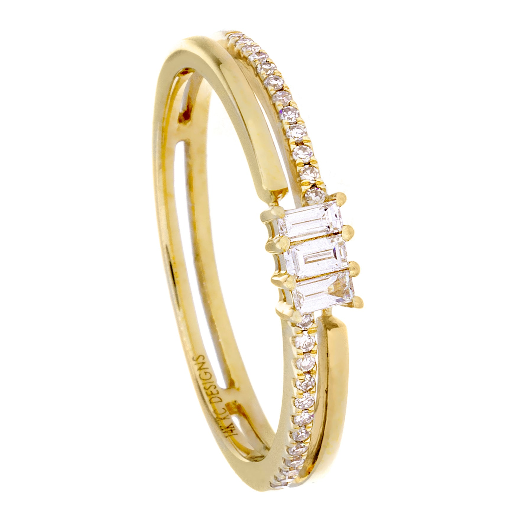 Diamonds & 14K Yellow Gold Double Band Ring