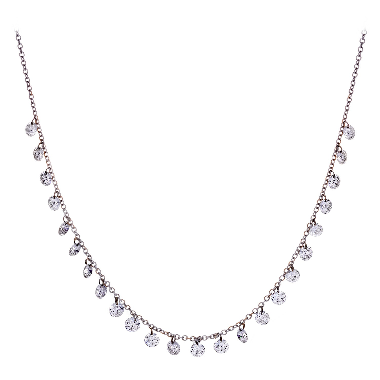 Floating Diamonds & 18K White Gold Necklace- SOLD/CAN BE SPECIAL ORDERED WITH 4-6 WEEKS DELIVERY TIME FRAME