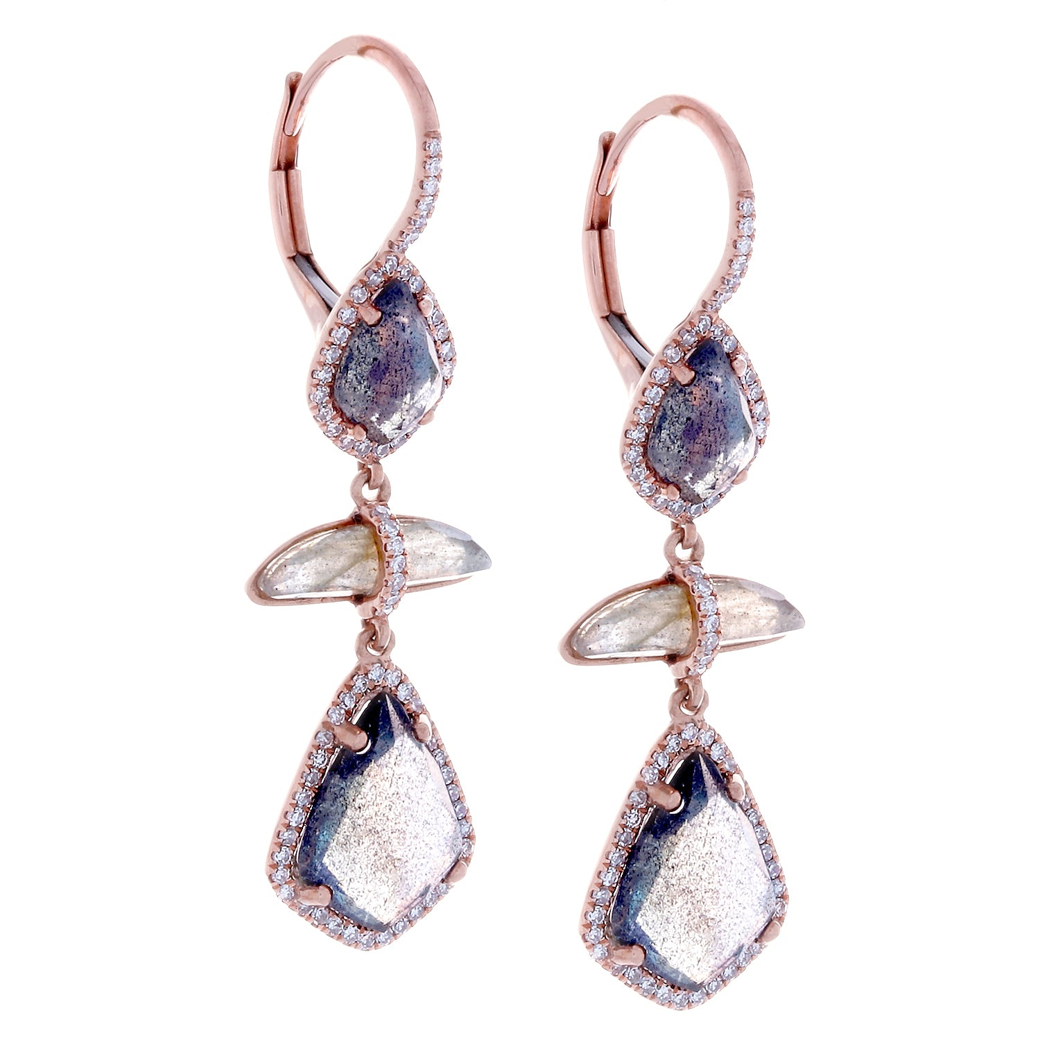 Labradorite, Diamonds & 14K Rose Gold Earrings - SOLD/CAN BE SPECIAL ORDERED WITH 4-6 WEEKS DELIVERY TIME FRAME