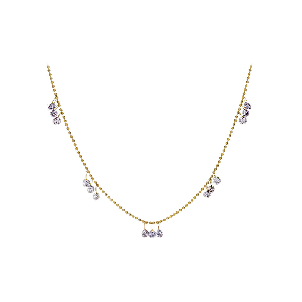 Floating Diamonds & 18K Yellow Gold Necklace - SOLD/CAN BE SPECIAL ORDERED WITH 4-6 WEEKS DELIVERY TIME FRAME