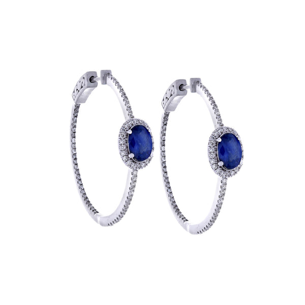 Blue Saphire, Diamond Pavé & 18K White Gold Earrings