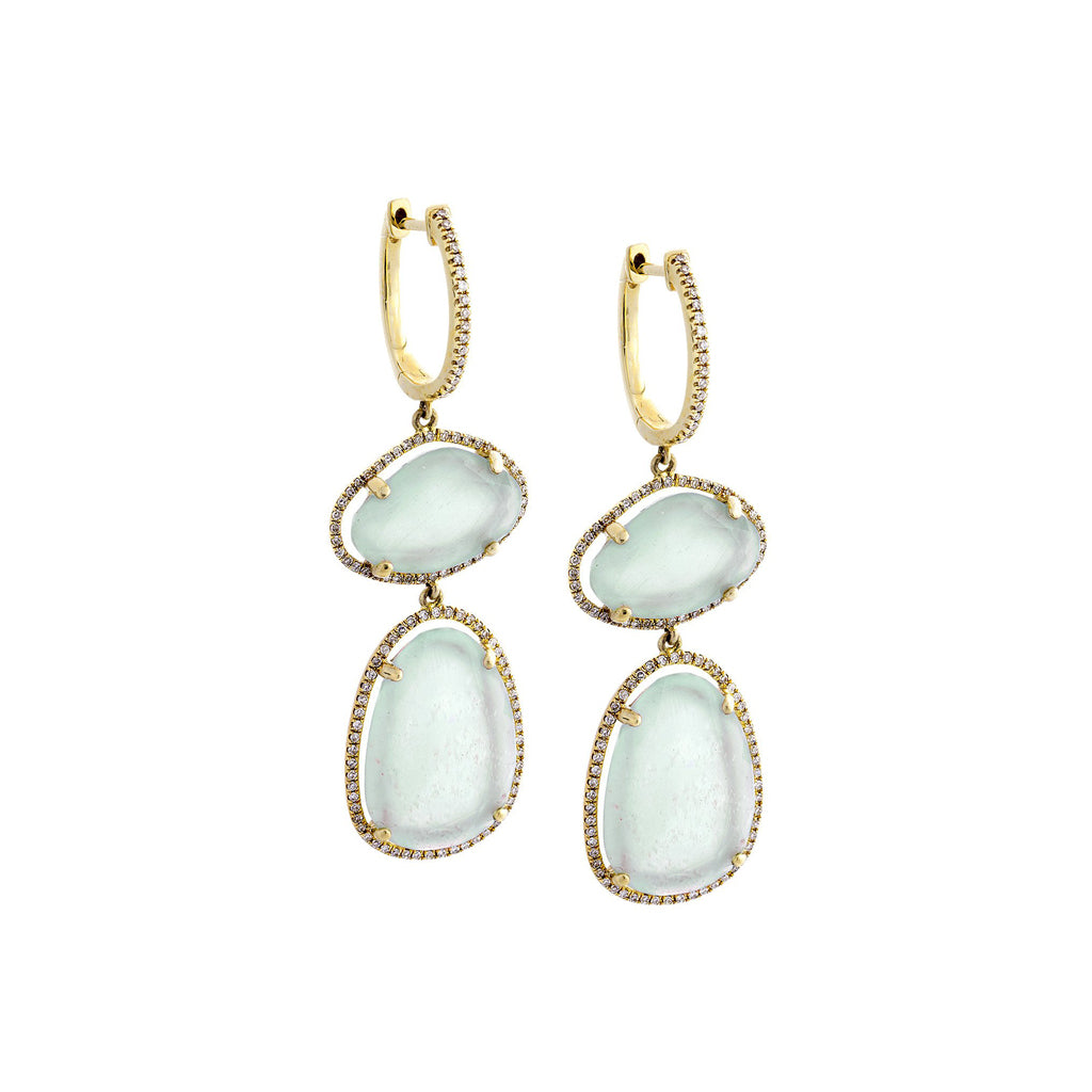Aquamarine, Diamond & 14K Yellow Gold Double Drop Earrings