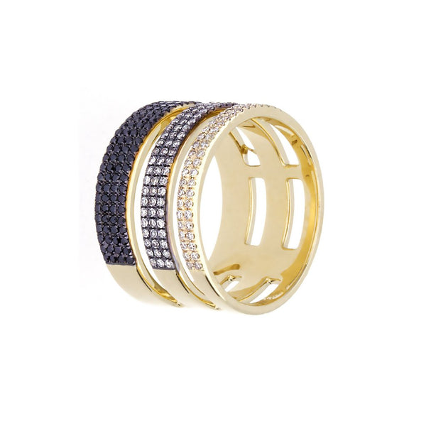 Black/White Diamonds & 14K Yellow/Blackened Gold Triple Band Ring