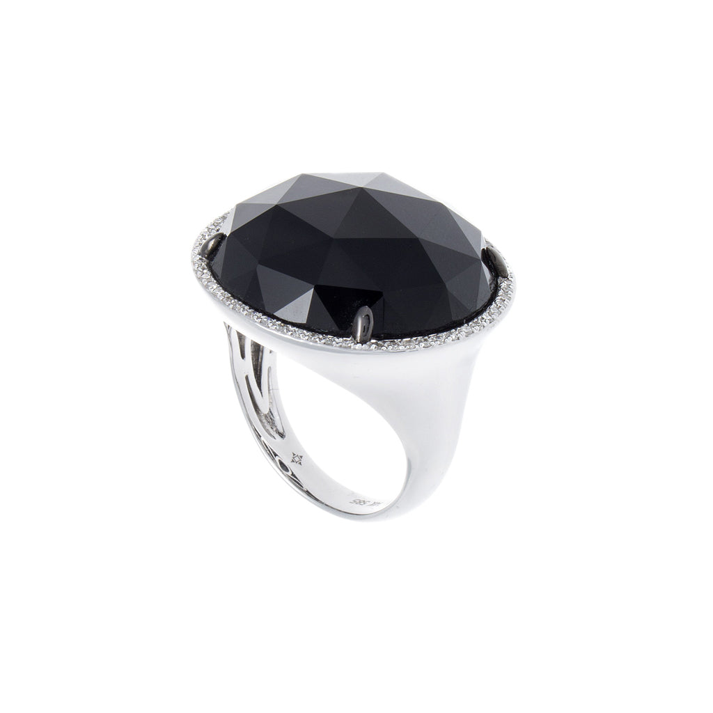 Black Onyx & Pavé Diamond 14K White Gold Ring-SOLD/CAN BE SPECIAL ORDERED WITH 4-6 WEEKS DELIVERY TIME FRAME