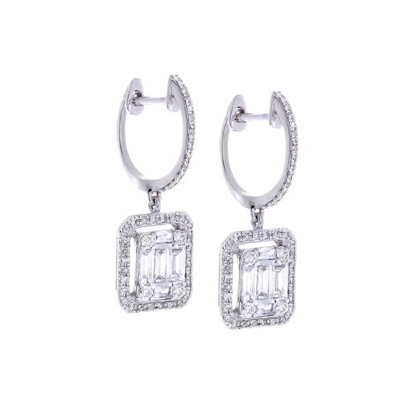Diamonds & 14K White Gold Earrings