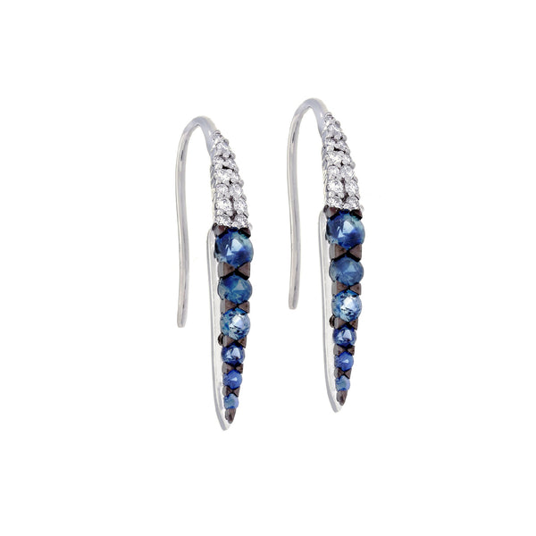 Blue Sapphire, Diamond & 14K White Gold Earrings