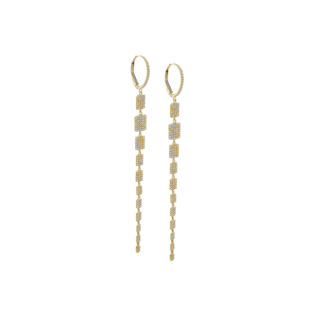 Diamonds Dangle Yellow Gold Earrings