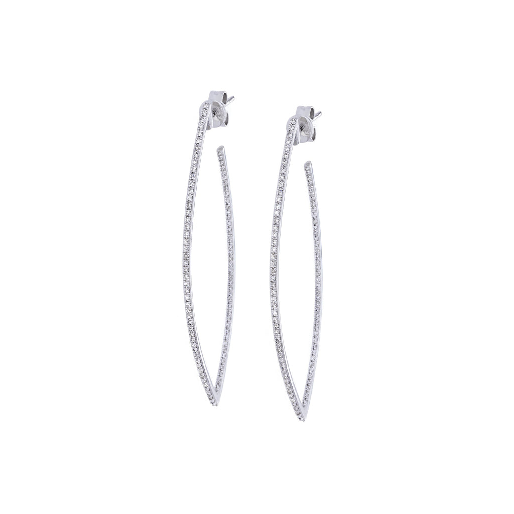 Diamonds Pave & 14K White Gold Earrings