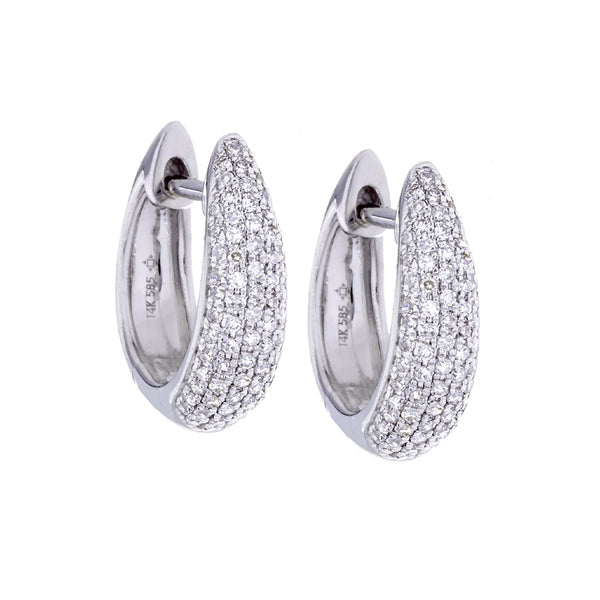 Diamonds Pave & 14K White Gold Hoop Earrings