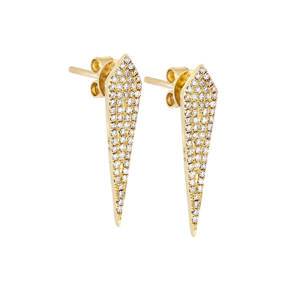 Diamonds Pave & 14K Yellow Gold Earrings