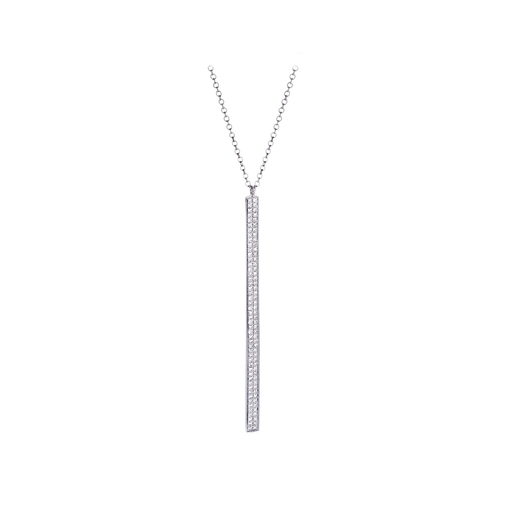 Diamonds & 14K White Gold Dangle Stick Necklace - SOLD/CAN BE SPECIAL ORDERED WITH 4-6 WEEKS DELIVERY TIME FRAME
